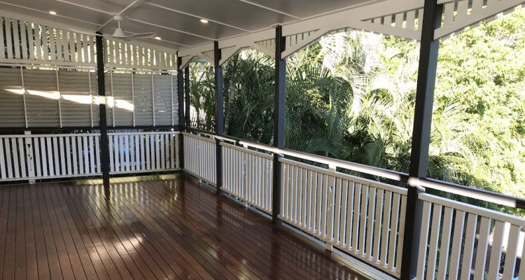 The completed extension of the existing second storey deck on this lovely Queenslander in Ashgrove. New ceiling linings, downlight and fans were also installed to create an outdoor living room for the owners of the home.